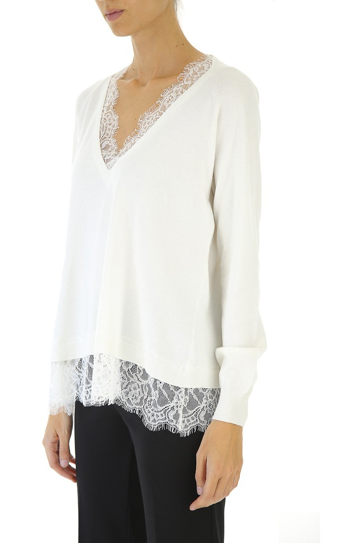 TWINSET Maglia Pizzo Neve 192tp3161 00282