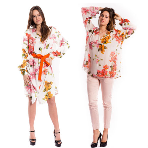 Floral jumper dress and blouse by PINKO