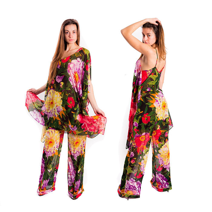 floral dersses S/S 2018 - Summer Garden patterned Kaftano,Trousers and Top by TWINSET